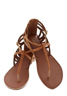Rock 'n' Stroll Sandal in Caramel. As you saunter along the boardwalk with your sweetheart, you cant help but tap these strappy sandals to the rockin beats of the musical festival taking place nearby! #brown #modcloth
