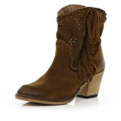 Brown perforated tassel western ankle boots - ankle boots - shoes / boots - women.  LOVE these!