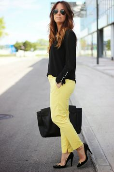 Zara yellow trousers