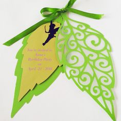 Leaf tinkerbell Invitation- tinkerbell invitation- party invitation- sweet sixteen invitation- sweet sixteen- birthday party- invitations- by InviteMebyAstrid on Etsy