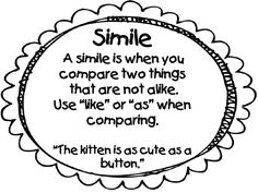 What is a simile mini-poster Word Work Activities, Grammar Activities, Writing Activities, Writing Ideas, 4th Grade Writing, 4th Grade Reading, What Is A Simile, Preschool Classroom Decor, Classroom Ideas