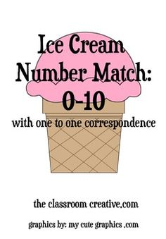 Ice Cream Number Match File Folder Game