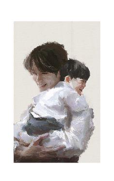 Awwww, a baby Jaehyun with adult Jaehyun 🥺🤧 Kpop Drawings, Art Drawings, Valentines For Boys, Jung Jaehyun, Jaehyun Nct, Kpop Fanart, Taeyong, K Idols, Nct 127