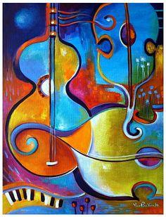 Cubism original oil painting Cubist Abstract Modern Art by MarlinaVera Acrylic Painting Canvas, Canvas Art, Pintura Graffiti, Galerie D'art, Art Moderne, Fine Art Gallery, Art Music, Music Artwork, Music Painting