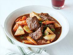 Old-Time Beef Stew Recipe : Paula Deen : Food Network (also added potatoes, frozen peas & corn, and died oregano and parsley)