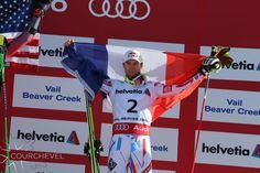Alexis Pinturault sur la plus haute marche du podium / Alexis Pinturault has climbed on to the highest step of the podium #cvlmoment ©David André