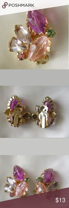 PM#52 vintage clip earrings Beautiful set of vintage clip-on earrings. In perfect condition and lovely colors. Nice bright stones! Truly vintage. Jewelry Earrings