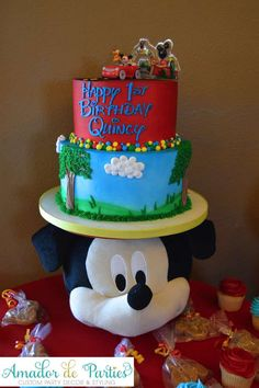 Fun cake at a Mickey Mouse Clubhouse birthday party! See more party ideas at CatchMyParty.com!
