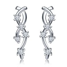 Women\'s Special White Gold Plated 925 Sterling Silver Round Cut White CZ Journey Style Stud Earrings. Starting at $5