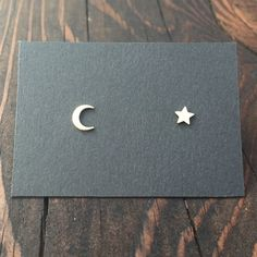Tiny Crescent Moon and Star Stud Earrings in Silver with Sterling Silver Posts / Mix Matched Earring Set by MaderaLane on Etsy