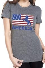 Women's USA American Unicorn Flag Grey Tri Blend T-Shirt                           | SoRock Shop