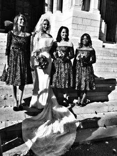 The wedding of burlesque dancer Immodesty Blaize, bridesmaids dresses designed by Jeff Mehmet and made by Caroline Bruce