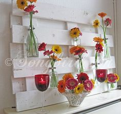 Songbird's fireplace mantel pallet displays