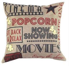 """17"""" Square Cushion Cover. Very pretty, would make a beautiful gift! Cinema Theme. Be sure to add me to yourfavourites list ! 