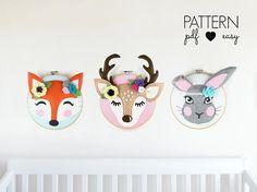 Woodland Nursery Decor Art Patterns Faux Taxidermy  Deer
