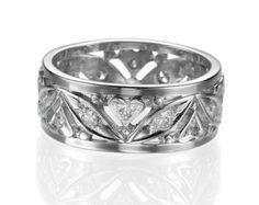 Multi Band Ring 14K White Gold Wedding Band 1.5 by DiamondsMine