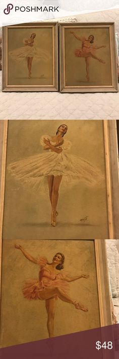 Pair Les Sylphides By Monte Ballerina art Pair Gorgeous shabby Chic vintage ballerina prints by famous artist Monte. Some water damage to frame and print boards. Adds character and charm to these beautiful vintage pieces. monte Other