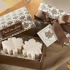 Fall is in the air with Fall in Love scented leaf shaped soap favors for everyone at your wedding reception or autumn themed party.