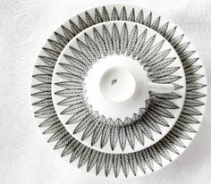 "Stig Lindberg, Sweden. ""SALIX"", rare black. cup/saucer and cake plate original production line1954-1965."