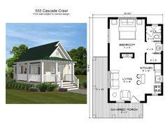 Tiny House Cabin, Cottage House Plans, Tiny House Living, Tiny House Design, Small House Plans, Cottage Homes, House Floor Plans, Guest Cottage Plans, Guest House Plans