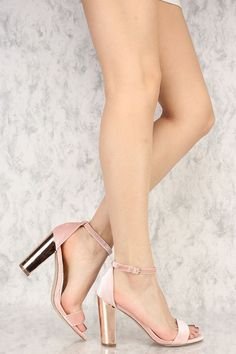 Open Toe Single Sole Metallic Chunky High Heels