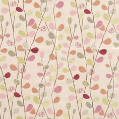 A modern, fresh looking fabric which is a woven leaf trail jacquard with fine detailed leaves in complementary colours with a contrasting lead stem linking all the leaves.