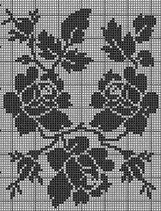 Cross Stitch Rose, Cross Stitch Borders, Cross Stitch Flowers, Cross Stitch Designs, Cross Stitch Patterns, Crochet Curtain Pattern, Crochet Curtains, Crochet Doilies, Filet Crochet Charts