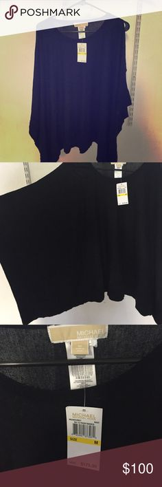 NWT Michael Kors navy bat-wing sweater Navy bat wing sweater, size medium with open shoulders MICHAEL Michael Kors Sweaters Shrugs & Ponchos