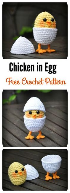 Crochet Amigurumi Patterns Chicken in Egg Free Crochet Pattern - My daughter loves baby chicks. Do you kids love them too? You can use these Adorable Free Chick Crochet Patterns to make some for your loved little ones. Crochet Food, Crochet Gifts, Knit Or Crochet, Crochet Dolls, Crochet Cupcake, Knitted Dolls, Easter Crochet Patterns, Amigurumi Patterns, Unique Crochet