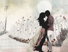 Large wall art Love painting Love couple paintings by lizkapiloto, $115.00
