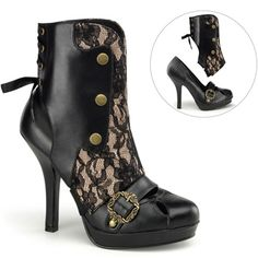 PERFECT office to evening shoes - Black lace over nude with corset ribbon in the back ankle boots. AND - the ankle shaft comes off and they become black pumps fit for the office!  Demonia Gothic Steampunk Pumps
