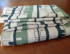 Mid-Century-Modern-Fabric-Ruth-Adler-Schnee-Narrow-Gauge-Retro-Geometric-Green