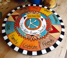 Hand Painted Lazy Susan, Wood, Personalized with Wood Burned and Carved Designs.