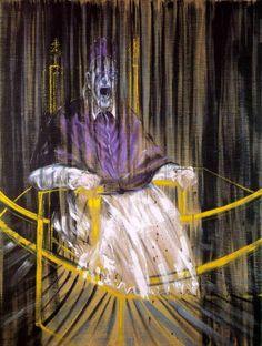 """colin-vian: """" Francis Bacon, El papa Inncencio X (según Velázquez), 1953. Óleo sobre lienzo, 153 cm × 118 cm Des Moines Art Center, Iowa """""""