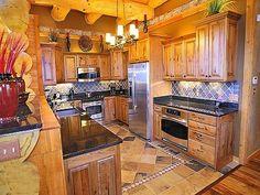 Love this Log Cabin kitchen