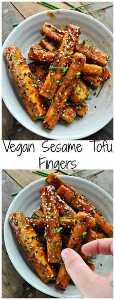 Sesame Tofu Fingers - Rabbit and Wolves Vegan Sesame Tofu Fingers - Rabbit and WolvesTofu (disambiguation) Tofu is a food made from coagulated soy milk. Tofu or TOFU may also refer to: Vegan Recetas, Sesame Tofu, Sesame Sauce, Tofu Dishes, Vegetarian Recipes, Healthy Recipes, Healthy Vegan Meals, Asian Tofu Recipes, Healthy Dishes