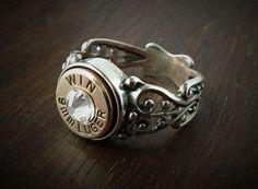 9Mm Handguns for Women   Women's 9mm Filigree Sterling Silver Bullet Ring   A girl & a gun