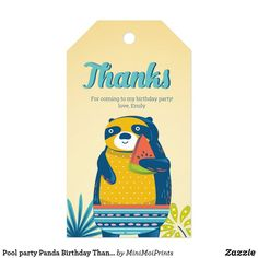 Pool party Panda Birthday Thank you tags Pool Party Kids, Summer Beach Party, Party Favors For Kids Birthday, Kid Pool, Birthday Thank You, Birthday Invitations, Birthday Parties, Disney Balloons, Panda Birthday