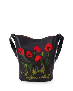 Flower-Embroidered Bucket Bag, Black by Stella McCartney at Neiman Marcus.