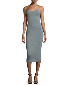 Strappy Stretch Midi Dress, Heather Gray by T by Alexander Wang at Neiman Marcus.