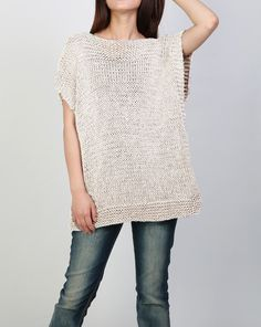 Hand knit Tunic sweater eco cotton woman sweater vest charcoal - Hand stricken Tunika Pullover Öko Baumwolle Frau Pullover Source by - Knit Vest, Tunic Sweater, Grey Sweater, Cotton Sweater, Cotton Vest, Knit Sweaters, Knitting Patterns Free, Knit Patterns, Hand Knitting