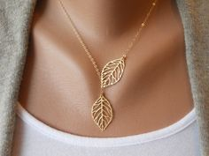 Leaf Lariat in Gold by morganprather on Etsy, $25.00.   Love! Got to look at her stuff on etsy...