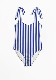 & Other Stories image 1 of Classic Cut Swimsuit in Blue Stripes