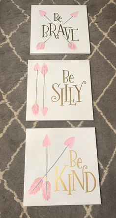 Be brave Be kind Be silly Canvas Trio for Girls Room Nursery decor Baby girl nur. Be brave Be kind Be silly Canvas Trio for Girls Room Nursery decor Baby girl nursery pictures Diy Room Decor For Girls, Baby Girl Nursery Decor, Diy For Girls, Baby Room Decor, Room Baby, Baby Room Ideas For Girls, Cute Diy Room Decor, Baby Rooms, Diy Canvas