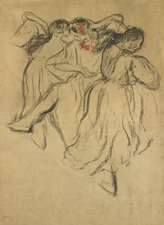 Edgar Degas  TROIS DANSEUSES RUSSES. circa 1900-05 Pastel and charcoal on paper laid down on board 38 5/8 by 29 ¾ in. 98.3 by 75.5 cm