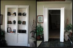 bookcase closet doors. would solve the living room closet issue
