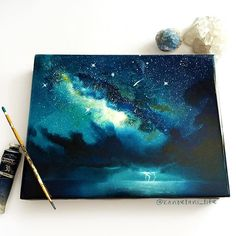 My most recent big project; oil paint on wood canvas with resin on top. Video to be posted soon!  ps. It's impossible to get good photos when there's resin involved  Link to buy this painting will be in bio soon! #art #instaart #instaartist #painting #paintingoftheday #artwork #artgallery #artofvisuals #magic #storm #milkyway #space #spaceage #spaceart #spacepaint #sprays #spraypaint #oilpainting #resin #inspiration #magic #naturelovers #nature #ocean #lightning #woodpainting #talent ...
