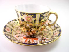 Antique  1930's Royal Crown Derby Imari Tea Cup And Saucer, Navy blue orange and gold tea cup