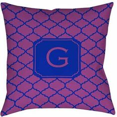 Thumbprintz Moroccan Monogram Magenta Decorative Pillows, Purple