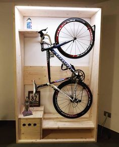 Amazing bike storage ideas you just have to see 12 Bike Storage Cabinet, Bike Wall Storage, Bike Storage Options, Bicycle Storage Rack, Bike Storage Apartment, Indoor Bike Storage, Indoor Bike Rack, Wall Mount Bike Rack, Bike Shelf
